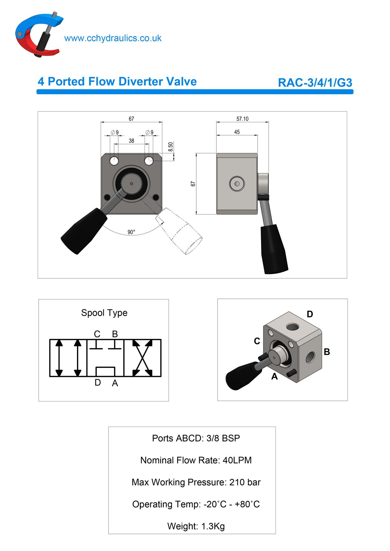 4 Ported Flow Diverter Valve C C Hydraulics Ltd