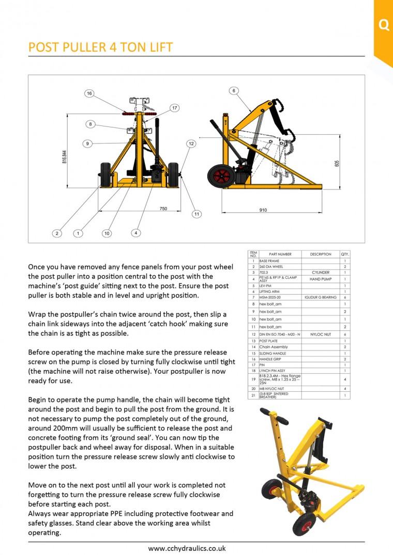 hydraulic post puller