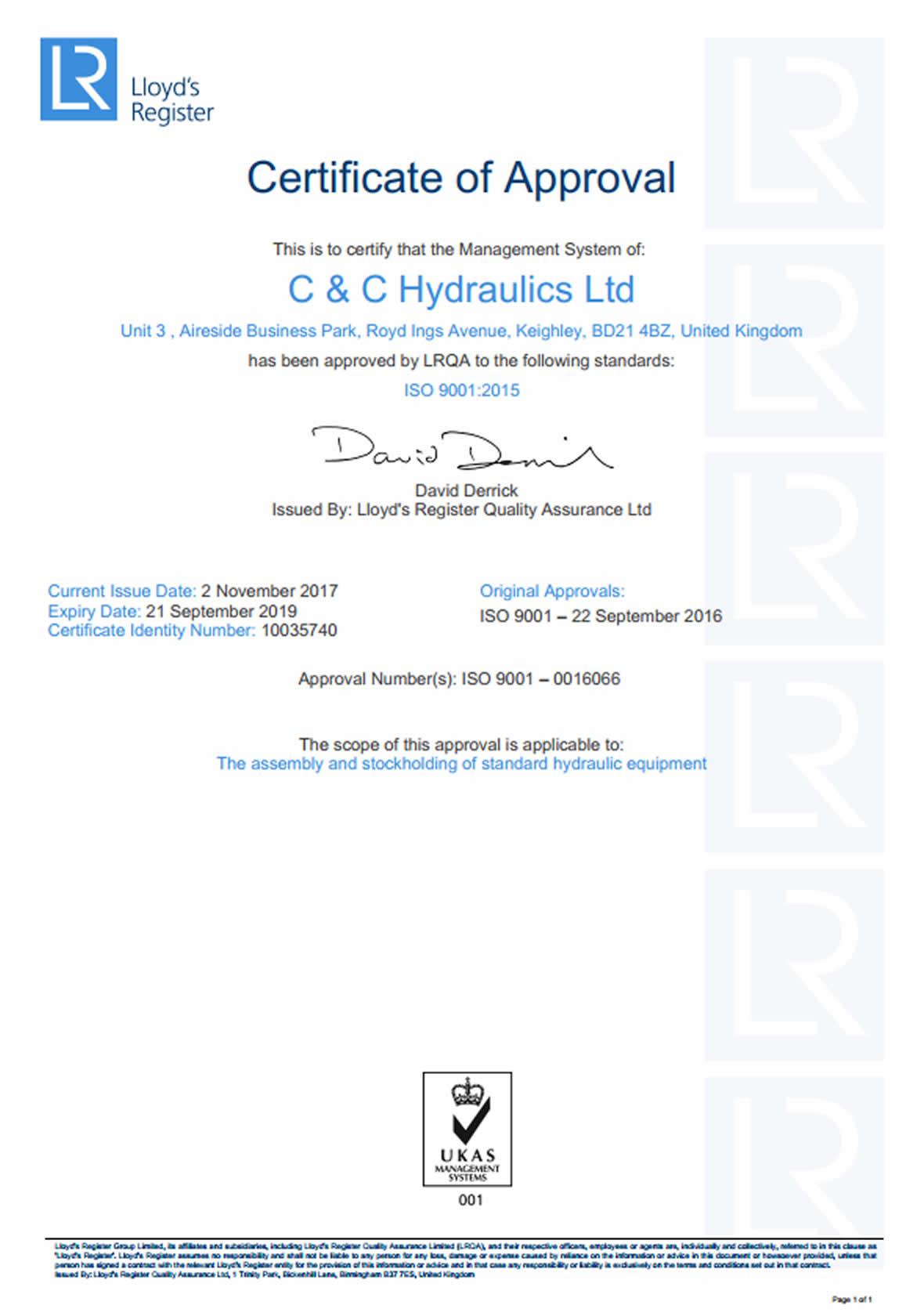 CC Hydraulics ISO 9001 Certificate